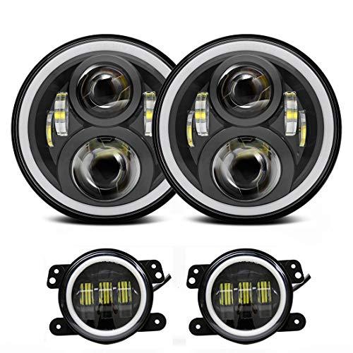 Lot de 2 phares ronds à LED de 17,8 cm avec 2 phares antibrouillard blancs de 10,2 cm avec anneaux de halo blancs (1 lot).