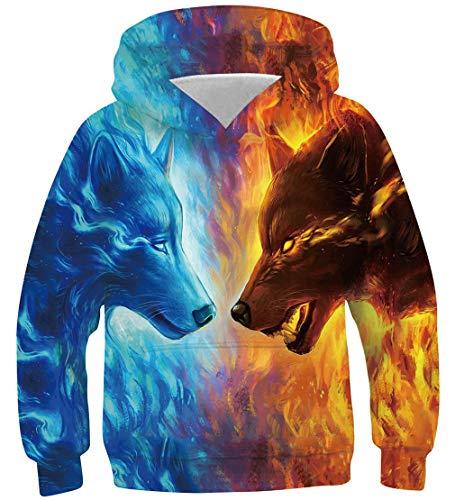 Goodstoworld Felpe Ragazza Invernale con Cappuccio Ragazzo Lupo 3D Colorata Pullover Felpa Manica Lunga Abbigliamento 11-14 Anni