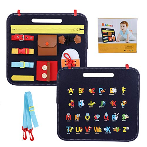 Bldaxn Busy Board for Toddler Sensory Toys, Montessori Basic Skills Activity Board for Fine Motor and Dressing Skills , Preschool Educational Learning Toys for 1 2 3 4 Year-Old Boys Girls, Travel Toy