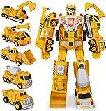 Transformer Robot Voiture Jouets Camion, Dump, Grue, Excavatrice, Bulldozer, Véhicules de Construction Jouets Cadeaux pour 3 4 5 6 Ans Garçon Filles Enfants Cadeau d'anniversaire