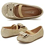 CIOR Girls Ballet Flats Shoes Bowknot Wedding Toddlers,A3,Light Gold Glitter,26