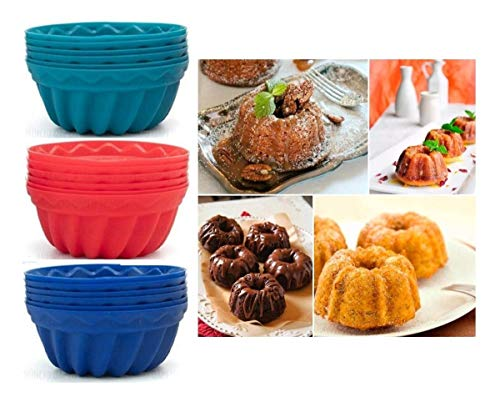 Kit 12 Forminhas Silicone Mini Bolos Cupcake Pudim Gelatina