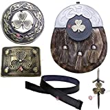 Men's Scottish Full Dress Leather Kilt Sporran Seal Skin Belt & Buckle,Brooch,Kilt Pin (Irish Shamrock, XL 44'' to 48'')