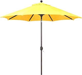 Galtech 9-Foot (Model 737) Deluxe Auto-Tilt Umbrella with Antique Bronze Frame and Sunbrella Fabric Buttercup (Includes Extended Frame Warrantee)