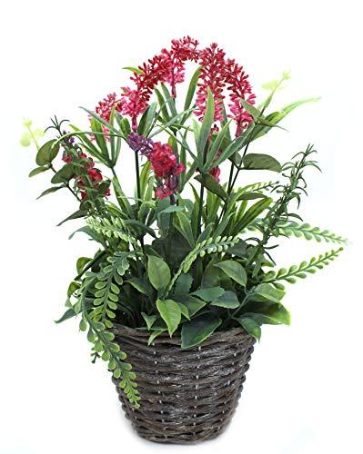 DARO DEKO Kunst-Pflanze Lavendel mit Topf 35cm hoch pink 1 Stück