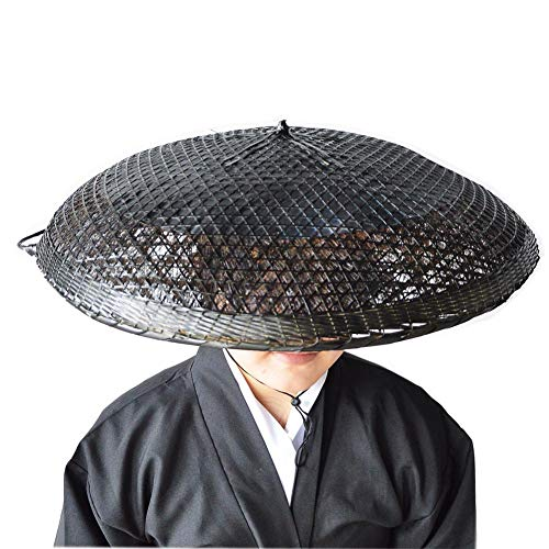 SUNNYHILL 21.6 Inches Bamboo Sun Hat Samurai Hat Rice Hat Cosplay Asian Hat Japanese Hat (Black)