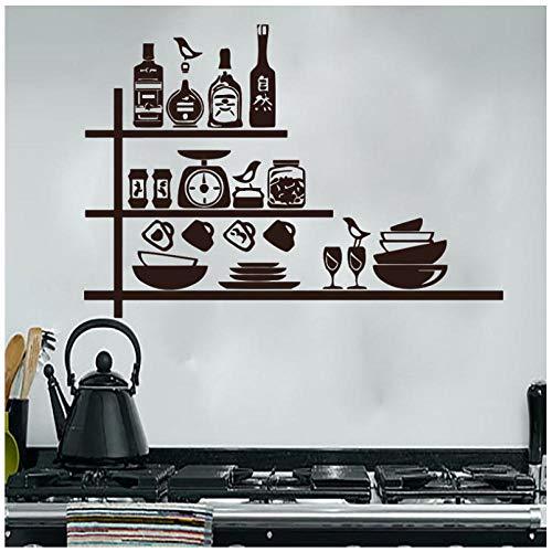 Creatief servies, kruiden, planken, zelfklevend, wanddecoratie, vinyl, waterdicht, afneembaar, 59 x 86 cm