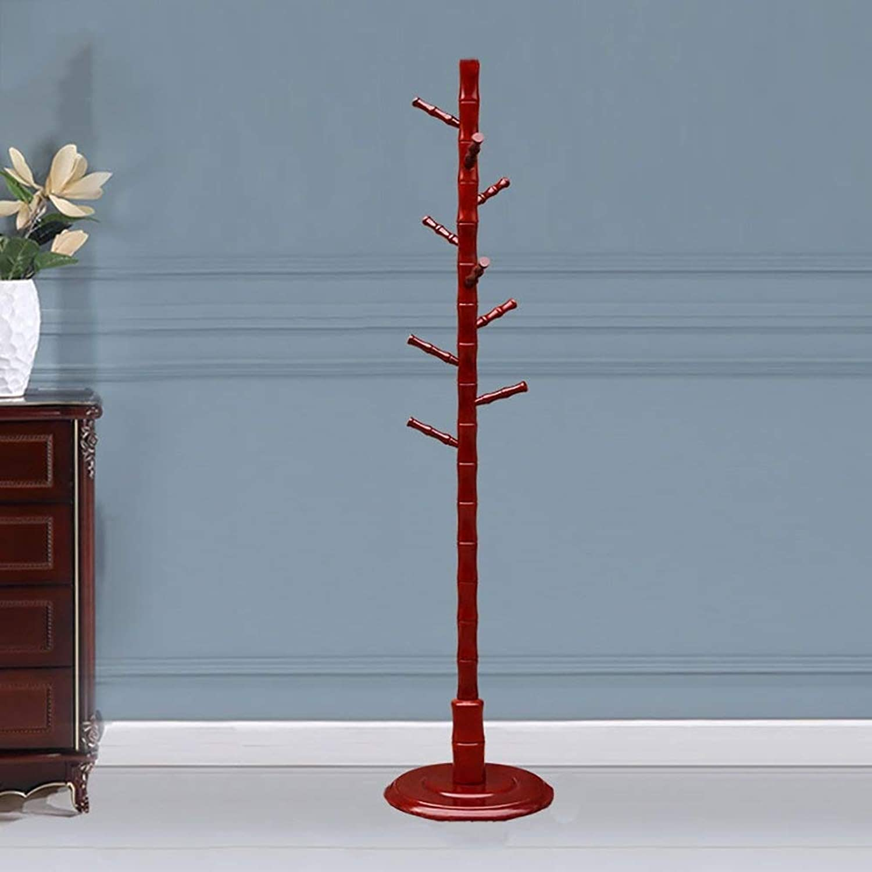 Coat Rack Modern Bamboo Pole Solid Wood Hanger Floorstanding Clothes Storage Rack Wall Hanger White Bedroom Haiming (color   Red)