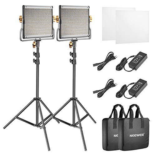 SocialLite 2-Pack LED Luz de Vídeo 480 con Kit de Soporte Bicolor Regulable 3200K-5600K CRI 96+ con Soporte de Luz de 2m para Grabacíon de Youtube vídeos Producto de Retrato