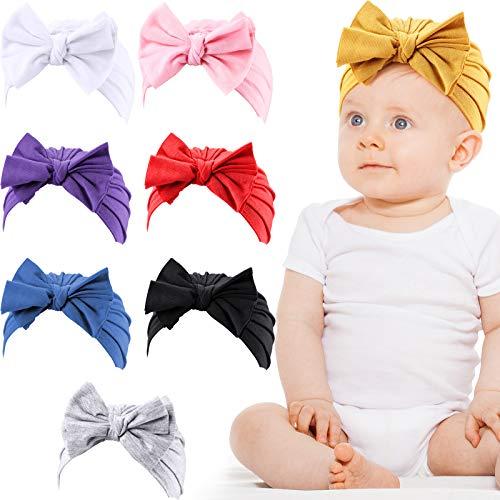 8 Piezas Gorro con Lazo Gorra Turbante de Nudo Suave para Bebé Niña Recién Nacida Niños Pequeños