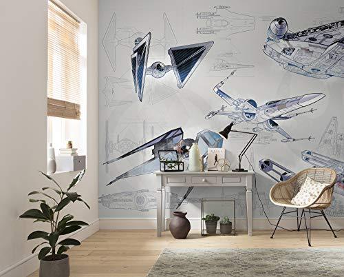 Komar Star Wars Blueprint Light   Größe: 400 x 280 cm (Breite x Höhe), Bahnbreite 50 cm   Tapete, Wandbild, Dekoration, Wandbelag, Kinderzimmer,   DX8-078 Vlies Fototapete, blau, grau