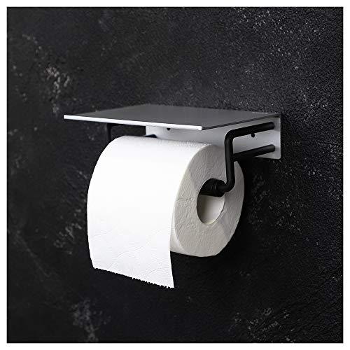 FORIOUS Toilettenpapierhalter ohne Bohren, Klopapierrollenhalter mit Ablage, Seidenpapierhalter für Bad oder Küche, Patentierter Kleber + Selbstklebend, Aluminium, Mattes Finish