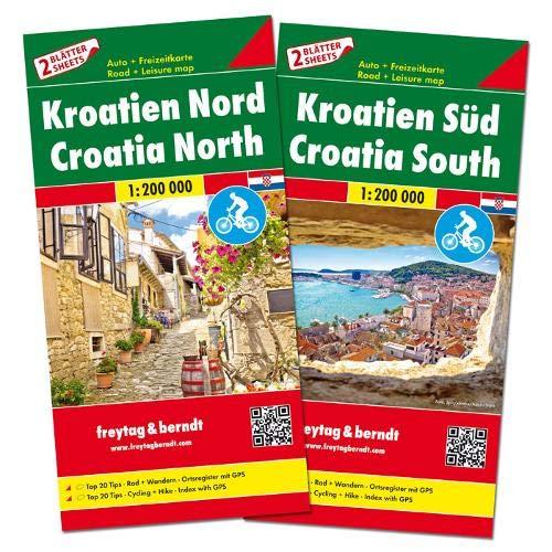 F&B Kroatië Noord en Zuid, set 2 kaarten: Set wegenkaarten 1:150 000