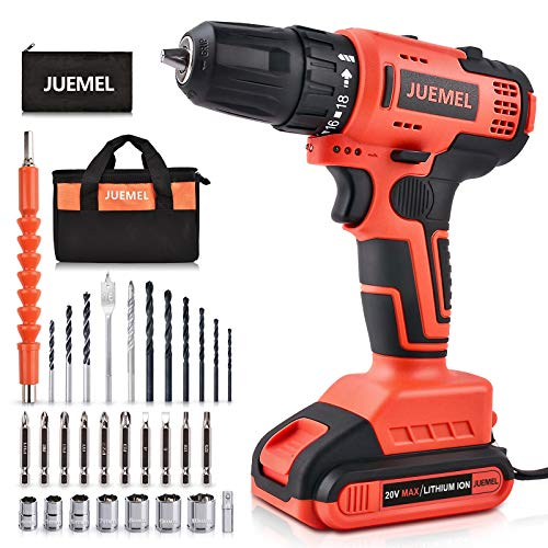 Cordless Drill 20V JUEMEL Brushless Drill Driver Set Lithiumion Power Electric Drill with 3/8#039#039 Keyless Chuck 430inlbs 181 Clutch and 02200RPM Variable Speed for Home Improvement and DIY Tasks