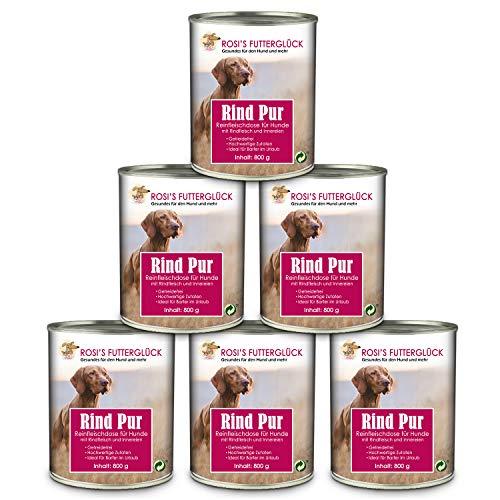 Rosi's Futterglück 6er Reinfleisch Dosen Hund 73% Rind Pur Nassfutter – Hochwertige Rindfleischdose Hundefutter Nass getreidefrei 6x800g