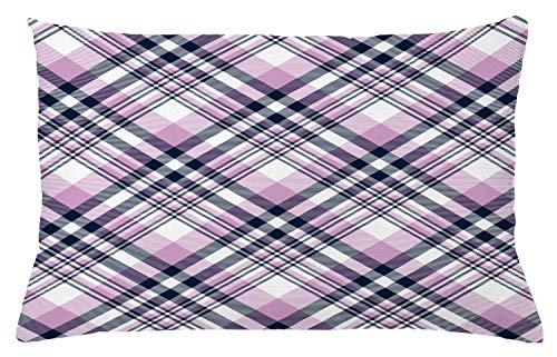 ABAKUHAUS Schotse ruit Sierkussensloop, Abstract Pastel Chequered, Decoratieve Vierkante Hoes voor Accent Kussen, 65 cm x 40 cm, Grijs Pink Indigo en White