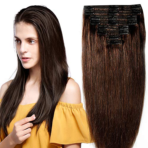 Extension Capelli Veri Clip Double Weft 8 Fasce Remy Human Hair XXL Full Head Set Lisci Lunga 40cm Pesa 130g, 2 Marrone Scuro