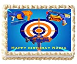 Edible Nerf Cake Birthday Party Topper Image Decoration Frosting 1/4 Sheet