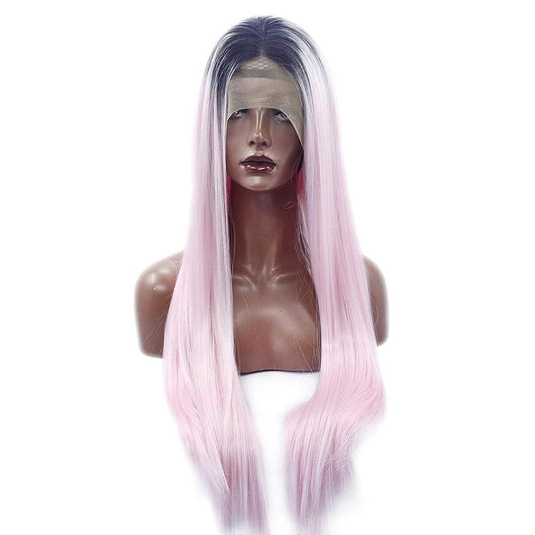 東方衛星キルスBOBIDYEE ピンクの長いストレートの髪黒髪かつら長い合成髪レースフロントかつら女性のための合成髪レースかつらロールプレイングかつら (色 : ピンク)