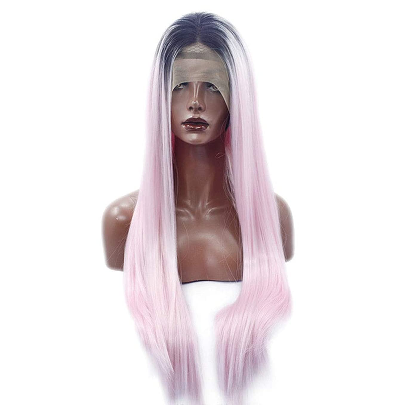 全員趣味熟したYrattary ピンクの長いストレートの髪黒髪かつら長い合成髪レースフロントかつら女性のための合成髪レースかつらロールプレイングかつら (色 : ピンク)