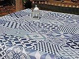 Mantel de Hule. PVC. Antimanchas. Estampado de Baldosas-Azulejos en Mosaico Hidráulico Azul. (140_x_200_cm)