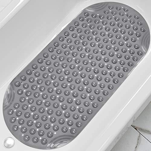 DEXI Duschmatte 88 x 40 cm,Badewannenmatte rutschfest mit Saugnapf & Ablauflöchern,Maschinenwaschbare,Kein Chemie-Geruch Badematten für Badezimmer Badewanne,Grau