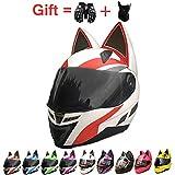 ZJRA Katze-Ohr-Helm, Motorradhelm Mit Cat Ear Creative Horn Off Road Motocross-Helm Für Männer &...