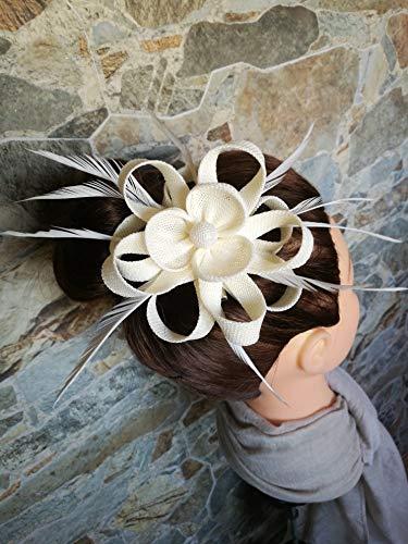 Tocado pamela pinza elegante pelo evento celebración boda comunión FLOR PLUMAS blanco...