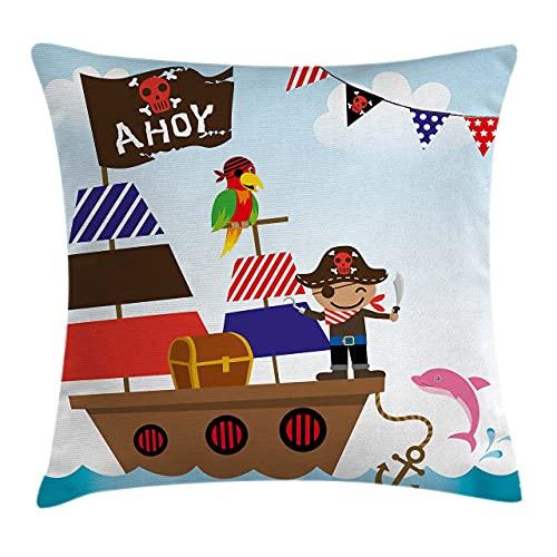 Ahoy Its a Boy - Funda de cojín para niños, diseño de pirata con ilustración de fondo oceánico, 45,7 x 45,7 cm