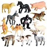 JOKFEICE Figuras de Animales 12 pcs Realista Plástico Mini Juguetes de Animales de la Selva Incluye Cachorro, Burro etc. Proyecto de Ciencia, Regalo de cumpleaños, Decoración de Pastel para niños