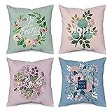 CCRoom Funda de cojín con Estampado Floral 45 x 45 cm, Paquete de 4 Decorativos Cojín Almohada Caso para Sala de Estar sofá Cama Coche con Cremallera Oculta