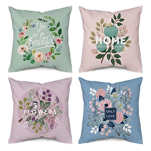 CCRoom Federe per cuscino stampa floreale 45 x 45 cm, confezione da 4 Copricuscini Decorativi Fodere in velluto quadrato per Cuscino per Divano Camera da Letto con zip nascosta