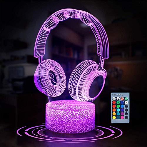 Auriculares 3D Lámpara de ilusión LED de luz nocturna Lámpara de ilusión óptica de 16 colores regulable USB Powered Control táctil con base de grieta+mando a distancia para niños niñas niños regalos