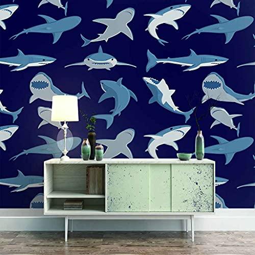 FVGKYS Papel Pintado Pared Dormitorio Infantil 3D Murales Tiburón Animal Azul Autoadhesivo Fondo De Pantalla Sala De Estar Café Ktv Salón De Belleza Murales 200x150cm Tamaño Personalizado