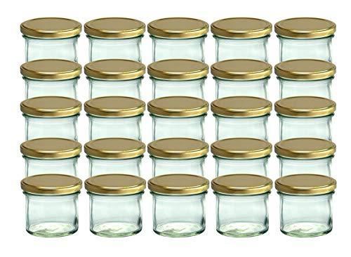 CapCro 25er Set Sturzgläser 125 ml goldene Deckel to 66 Marmeladengläser Einmachgläser Einweckgläser
