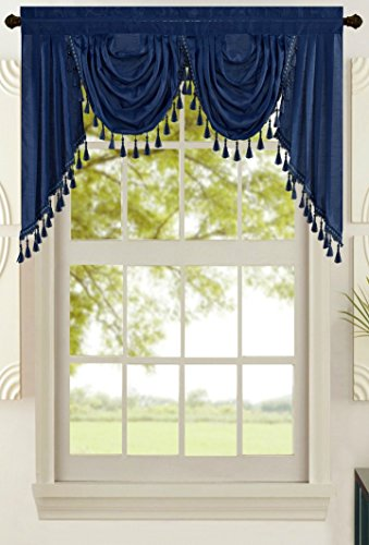 "All American Collection New Attached Solid Faux Silk Double Waterfall Valance with Tails (55"" x 32"", Navy Valance)"