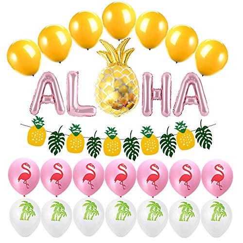 Jolintek Hawaiana Fiesta Tropical Globos Decoración, Decoración de Fiesta Tropical con Pancarta de Piña Hojas Verdes, Látex Globos con Coco y Flamenco, ALOHA y Piña Aluminio Globos Fiesta Hawaiana
