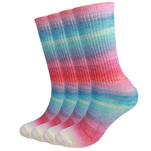 EnerWear 4 Pack Women's Merino Wool Outdoor Hiking Trail Crew Sock (US 9-11, Gradient Color)