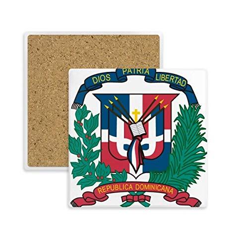 Posavasos cuadrado de la República Dominicana, diseño de emblema nacional con piedra absorbente para bebidas, 2 piezas de regalo