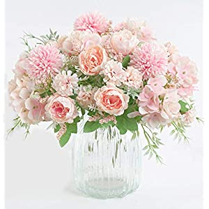 ynh Artificial Flowers, Fake Peony, Silk Hydrangea, Bouquet Decoration, Plastic Carnation, Realistic Floral Arrangement, Wedding Decoration, Table Setting, 2 Pieces (Light Pink)