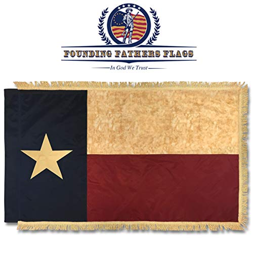Texas Vintage Home Banner W/Gold Fransen–3x 5'Nylon bestickt Banner W/Sleeve–Gründerväter Flaggen