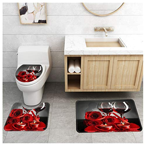 ErYao Red Rose Flowers Wine Glass and Candle for Valentines Couple Decorative Soft Comfort mat Anti-Skid Absorbent Toilet Seat Cover Bath Mat Lid Cover 3pcs/Set Rugs (Red)