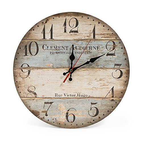 LOHAS Home 30 cm Reloj de Pared de Cuarzo Estilo Toscano Vintage Franc