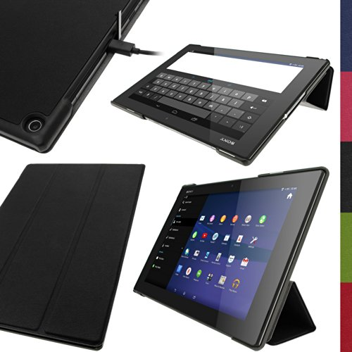 iGadgitz U2899 Nero Ecopelle Smart Cover Custodia Compatibile con Sony Xperia Z2 Tablet SGP511 10.1' con Supporto Multi-Angle + Auto Sleep/Wake