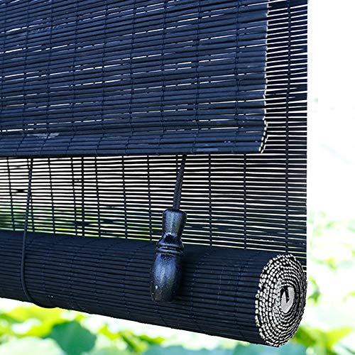 Seitenzug- & Springrollos Bambusvorhang Schwarz Blackout Bambus Fenster Vorhang, Sonnenschirm im Freien mit Armaturen, 85cm / 105cm / 125cm / 135cm Breit Jalousie (Color : W×H, Size : 135×260cm)