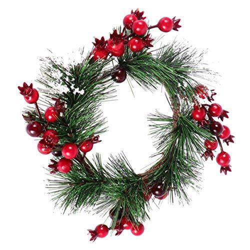 BESPORTBLE Weihnachten Schneebedeckten Granatapfel Kerzenringe Teelicht Kerzenhalter Kleine Stechpalme Beerenkränze für Hochzeit Vitrine Wand Fensterdekoration Rot