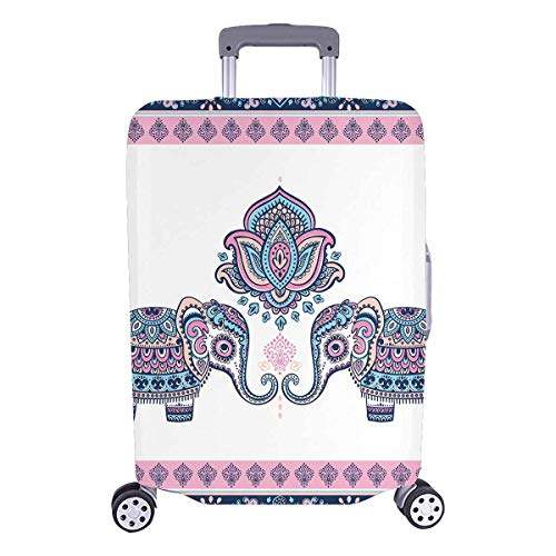 InterestPrint Vintage Lotus Aztec Elephant Travel Luggage Cover Suitcase Cover Fits 18'-21' Luggage