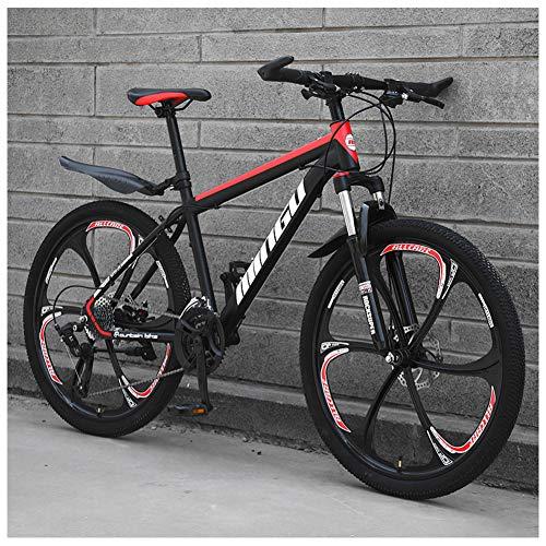 NENGGE 26 Zoll Mountainbike, Scheibenbremsen Hardtail MTB, Trekkingrad Herren Bike Mädchen-Fahrrad, Vollfederung Mountain Bike,24 Speed,Black Red 6 Spoke