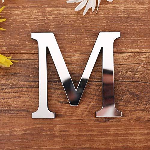 3D DIY Lettres Alphabet Décoratives Argent, Créatif Acrylique Surface du miroir Alphabet 26 lettres autocollant mural Fête de la décoration de la maison (M)