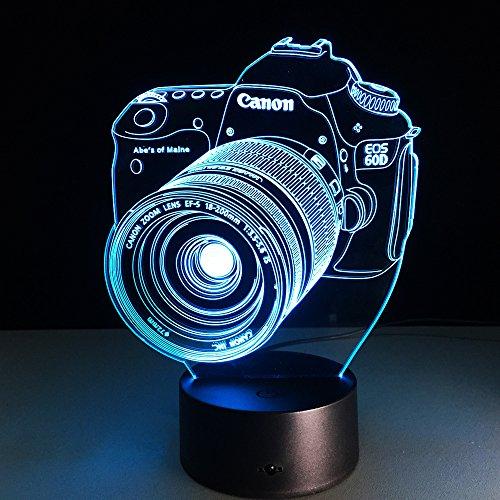 3D Lámpara Óptico Illusions Luz Nocturna, Cámara Led Lámpara De Mesa Luces De Noche Para Niños Decoración Tabla Lámpara 16 Colores Cambio De Botón Táctil Y Cable Usb